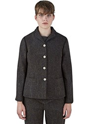 Renli Su Tweed Blazer Jacket Brown