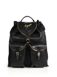 Giuseppe Zanotti Perforated Leather Backpack Black