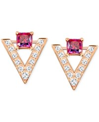 Swarovski Rose Gold Tone Square Red Crystal Pave Chevron Stud Earrings