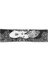 Maison Michel Gab Printed Cotton Headband Black