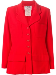 Chanel Vintage Boucle Knit Blazer Red
