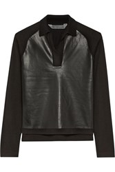 Reed Krakoff Leather Paneled Cashmere Merino Wool And Silk Blend Top Black