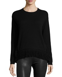 Derek Lam 10C Cusp Long Sleeve Fringe Hem Top