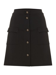 Therapy Button Through Skirt Black