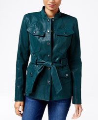 Guess Margrete Faux Leather Utility Jacket Green