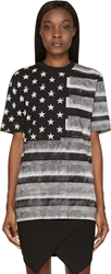 Givenchy Grey And Black American Flag T Shirt