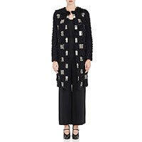 Valentino Women's Studded Tile Lamb Shearling Coat Black