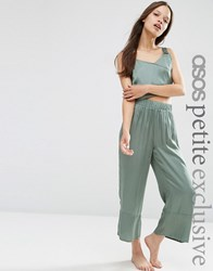 Asos Petite Exclusive Satin Wide Leg Trousers Co Ord Green