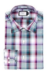 Lorenzo Uomo No Wrinkle Plaid Dress Shirt Purple