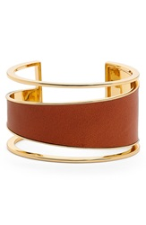Rachel Zoe 'Alana' Wide Leather Cuff Gold Luggage Leather