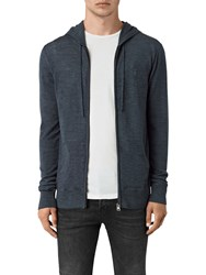 Allsaints Mode Merino Wool Zip Up Hoodie Workers Blue Marl