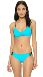 L Space Wild One Color Block Racer Back Bikini Top Turquoise Mint