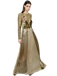 Alberta Ferretti Velvet Satin And Chiffon Dress