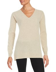 Lord And Taylor Cashmere V Neck Sweater Stone Heather