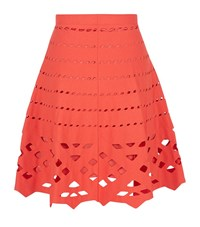 D.Exterior Cut Out Skater Skirt Female Red