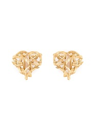 Yves Saint Laurent Vintage Heart Shaped Embellished Earrings Metallic