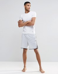 Hugo Boss Lounge Shorts With Contrast Tipping In Grey Regular Fit Grey