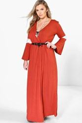 Boohoo Willow Wrap Front Lace Detail Maxi Dress Spice