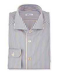 Kiton Striped Long Sleeve Sport Shirt Navy