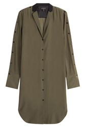 Rag And Bone Silk Shirtdress With Contrast Collar Green