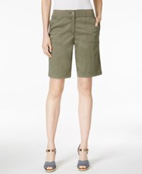 Karen Scott Bermuda Utility Shorts Only At Macy's Olive Vine