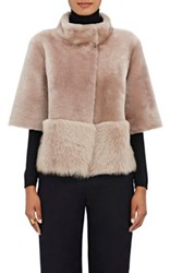 Barneys New York Women's Lamb Shearling Coat Pink