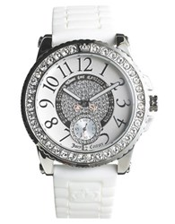 Juicy Couture Ladies Pedigree Stainless Steel Jelly Strap Watch Silver
