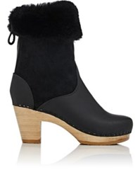No. 6 Women's Shearling And Leather Mid Calf Boots Black
