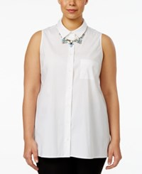 Alfani Plus Size Sleeveless Swing Shirt Only At Macy's Bright White