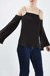 Boutique Overlay Flared Sleeve Blouse By Multi