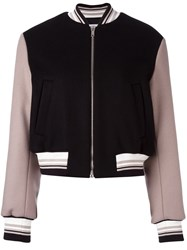 Msgm Embroidered Cropped Bomber Jacket Black