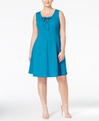 Love Squared Trendy Plus Size Lace Up Fit And Flare Dress Turquoise