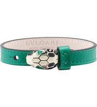 Bulgari Serpenti Leather Bracelet Emerald Green
