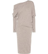 Tom Ford Asymmetrical Cashmere Sweater Dress Beige