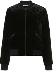 Alice Olivia 'Demia' Quilted Bomber Jacket Black