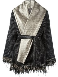 Etro Metallic Belted Poncho Black