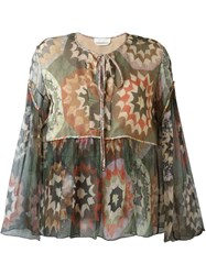 Chloe Patchwork Print Smock Blouse Green