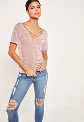 Missguided Slinky Cross Front T Shirt Mauve