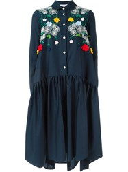 Vivetta Oversized Embroidered Pleated Shirt Dress Blue