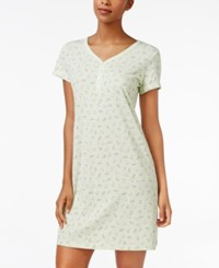 Charter Club V Neck Henley Style Sleepshirt Only At Macy's Mint Flowers