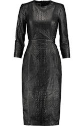 By Malene Birger Demetria Croc Effect Leather Midi Dress Black