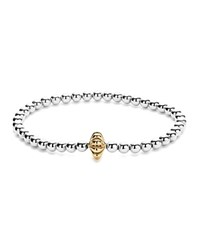Lagos 18K Gold And Sterling Silver Stretch Bracelet With Caviar Icon Bars Silver Gold