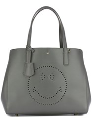 Anya Hindmarch 'Ebury' Smiley Shopper Grey