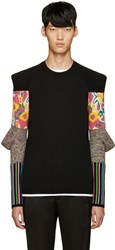 Comme Des Garcons Black Padded Sleeves Floral Sweater