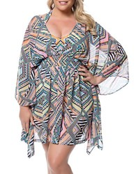 Jessica Simpson Plus Plus Tribal Print Chiffon Coverup