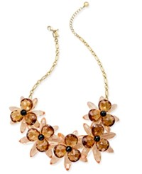 Kate Spade New York Gold Tone Blooming Brilliant Flower Statement Necklace Neutral Multi