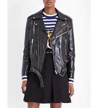 Gucci Graphic Detail Leather Jacket Black White