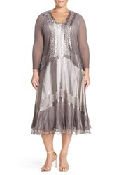 Plus Size Women's Komarov Sleeveless Charmeuse Dress And Chiffon Jacket
