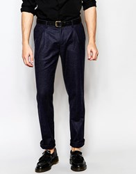Sisley Tweed Suit Pants In Slim Fit Navy