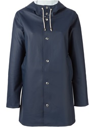 Stutterheim Hooded Raincoat Blue